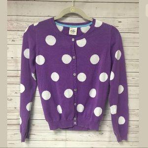 Mini Boden Purple Polka Dot Sweater 13-14 Cardigan
